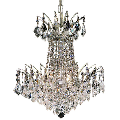 "Victoria 16"" Diam Chandelier, Chrome Finish, Clear Crystal, Elegant Cut"
