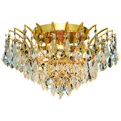 "Victoria 16"" D Flush-Mount Light, Gold Finish, Clear Crystal, Elegant Cut"