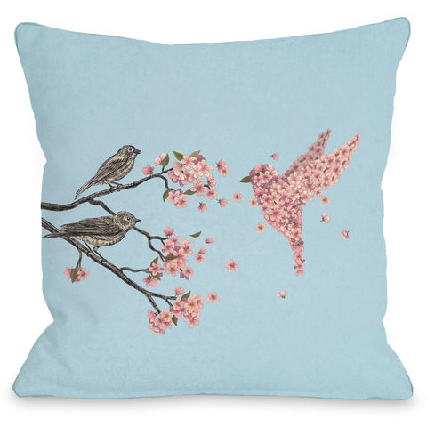 """Blossom Bird Sky"" Indoor Throw Pillow by Terry Fan, 16""x16"""
