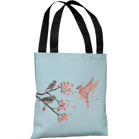 """Blossom Bird Sky"" 18""x18"" Tote Bag by Terry Fan"