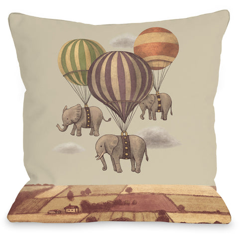 """Flight of the Elephants"" Indoor Throw Pillow by Terry Fan, 16""x16"""