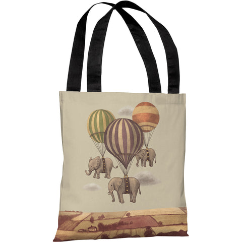 """Flight of the Elephants"" 18""x18"" Tote Bag by Terry Fan"
