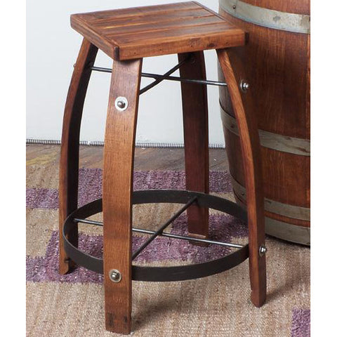 "24"" Stave Stool w/ Wood Seat (Made from Wine Barrels)"