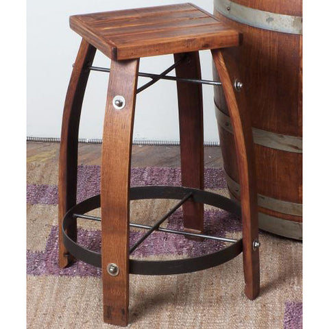 "28"" Stave Stool w/ Wood Seat (Made from Wine Barrels)"