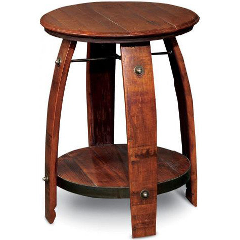 "28"" Barrel Side Table w/ Shelf (Made from Wine Barrels)"