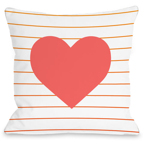 """Jamie Heart"" Indoor Throw Pillow by OneBellaCasa, 16""x16"""