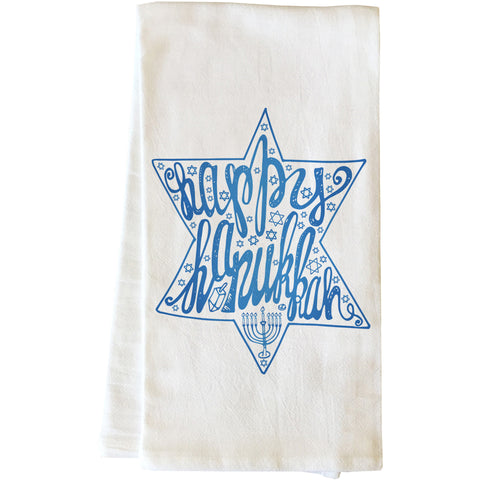 """Happy Hanukkah"" Tea Towel by OneBellaCasa"