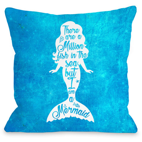 """But I Am A Mermaid"" Outdoor Throw Pillow by OneBellaCasa, White, 16""x16"""