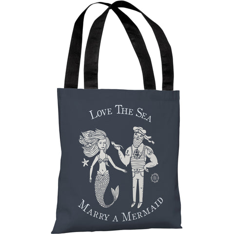 """Marry A Mermaid"" 18""x18"" Tote Bag by OneBellaCasa"