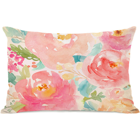 """Popping Peonies"" Indoor Throw Pillow by OneBellaCasa, 14""x20"""