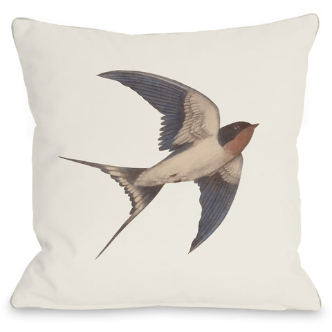 """Barn Swallow"" Indoor Throw Pillow by Terry Fan, 16""x16"""