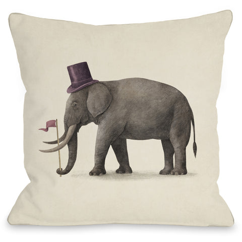"""Elephant Day"" Indoor Throw Pillow by Terry Fan, 16""x16"""