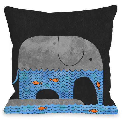 """Thirsty Elephant"" Indoor Throw Pillow by Terry Fan, 16""x16"""