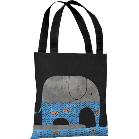 """Thirsty Elephant"" 18""x18"" Tote Bag by Terry Fan"