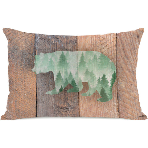 """Mountain Bear"" Outdoor Throw Pillow by OneBellaCasa, 14""x20"""
