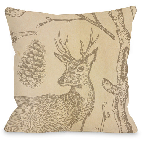 """Woodland Deer"" Outdoor Throw Pillow by OneBellaCasa, 16""x16"""