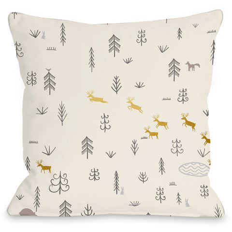 """Woodland Pattern"" Outdoor Throw Pillow by OneBellaCasa, 16""x16"""