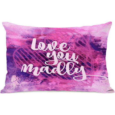 """Love You Madly"" Outdoor Throw Pillow by Julia Di Sano, 14""x20"""