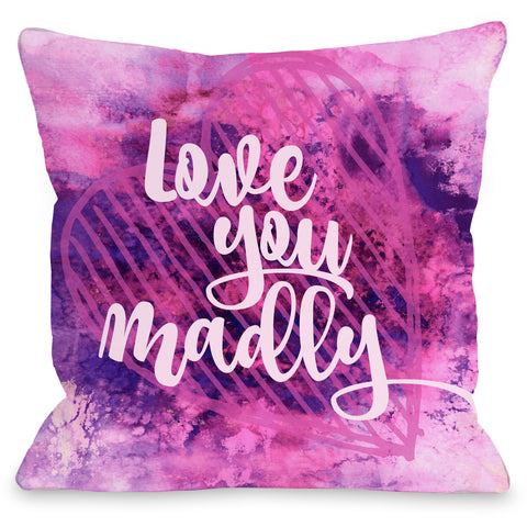 """Love You Madly"" Outdoor Throw Pillow by Julia Di Sano, 16""x16"""