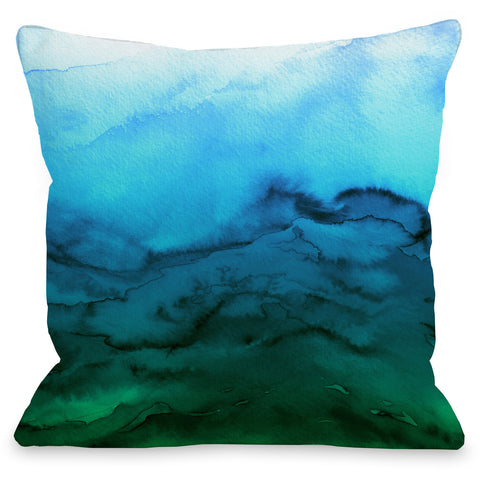 """Winter Waves"" Outdoor Throw Pillow by Julia Di Sano, Blue Green Ombre, 16""x16"""