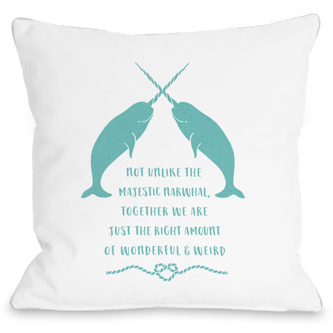"""Narwhal"" Outdoor Throw Pillow by Cheryl Overton, 16""x16"""