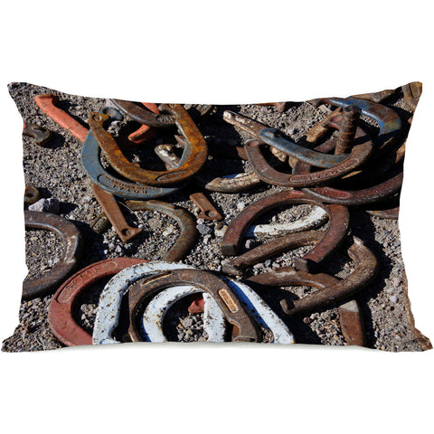 """Horseshoes"" Outdoor Throw Pillow by Lisa Argyropoulos, 14""x20"""