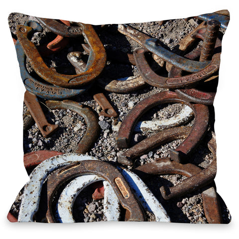 """Horseshoes"" Indoor Throw Pillow by Lisa Argyropoulos, 16""x16"""
