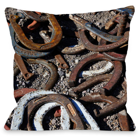 """Horseshoes"" Outdoor Throw Pillow by Lisa Argyropoulos, 16""x16"""