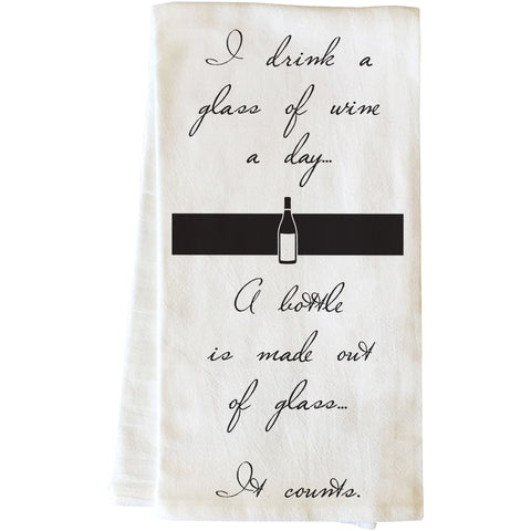 """Glass Of Wine"" Tea Towel by OneBellaCasa"