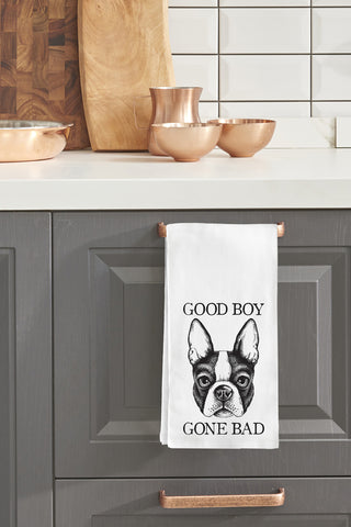 """Good Boy Gone Bad"" Tea Towel by OneBellaCasa"