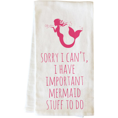 """Important Mermaid Stuff To Do"" Tea Towel by OneBellaCasa"