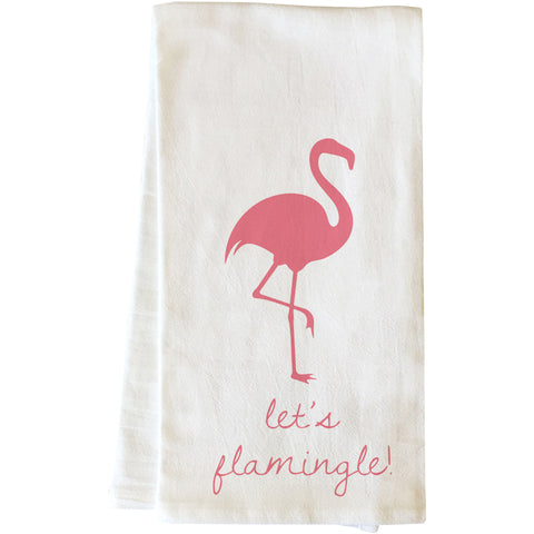 """Let's Flamingle"" Tea Towel by OneBellaCasa"