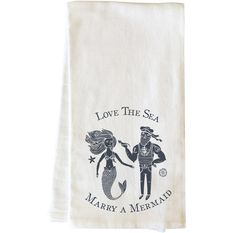 """Marry A Mermaid"" Tea Towel by OneBellaCasa"
