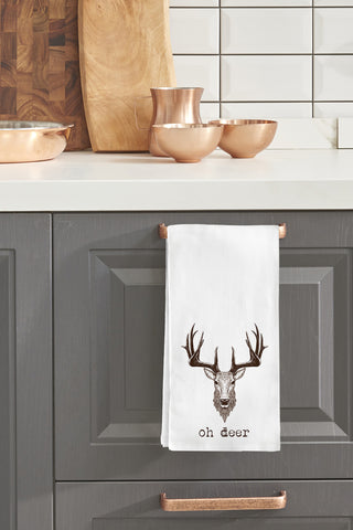 """Oh Deer"" Tea Towel by OneBellaCasa"