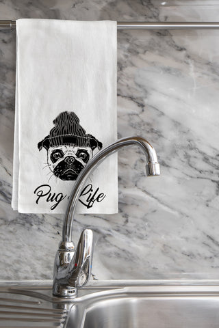 """Pug Life"" Tea Towel by OneBellaCasa"