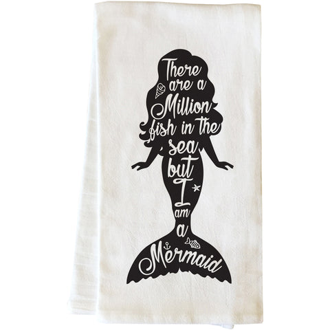 """But I Am A Mermaid Black"" Tea Towel by OneBellaCasa"