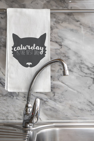 """Caturday Is The Best Day"" Tea Towel by OneBellaCasa"