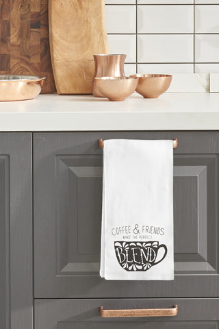 """Coffee And Friends Make The Perfect Blend"" Tea Towel by OneBellaCasa"