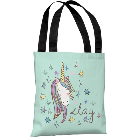 """Slay Unicorn"" 18""x18"" Tote Bag by OneBellaCasa"