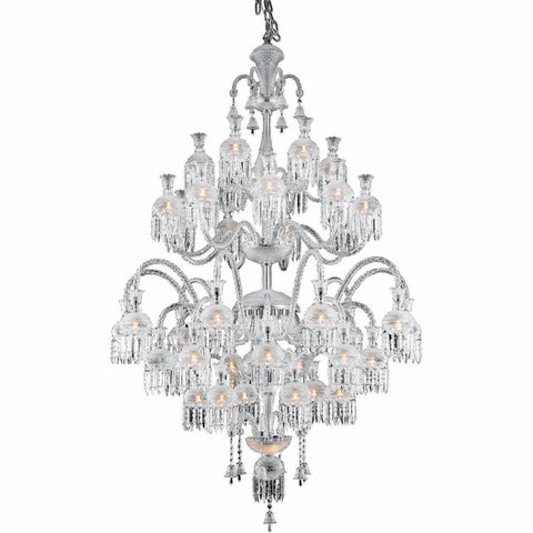 "Majestic 54"" Diam Chandelier, Chrome Finish, Clear Crystal, Elegant Cut"
