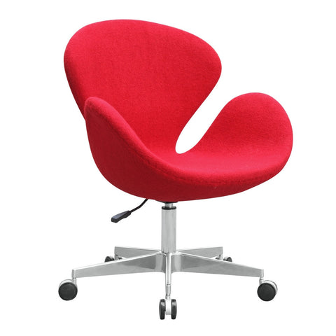 Swan Swivel Chair Fabric with Casters, Red