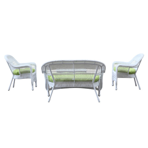 Portside White 4pc Outdoor Set, Green Cushion