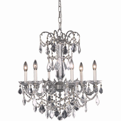 "Athena 23"" Diam Chandelier, Pewter Finish, Clear Crystal, Elegant Cut"