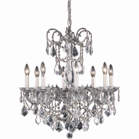 "Athena 24"" Diam Chandelier, Pewter Finish, Clear Crystal, Elegant Cut"