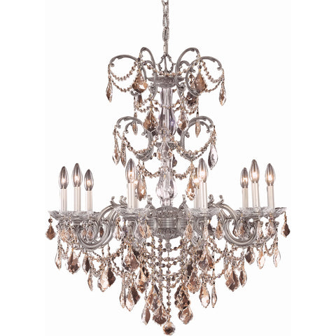"Athena 29"" Diam Chandelier, Pewter, Golden Teak Crystal, Royal Cut"