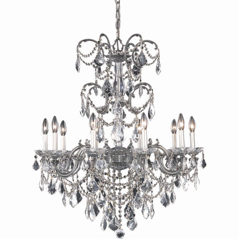 "Athena 29"" Diam Chandelier, Pewter Finish, Clear Crystal, Elegant Cut"