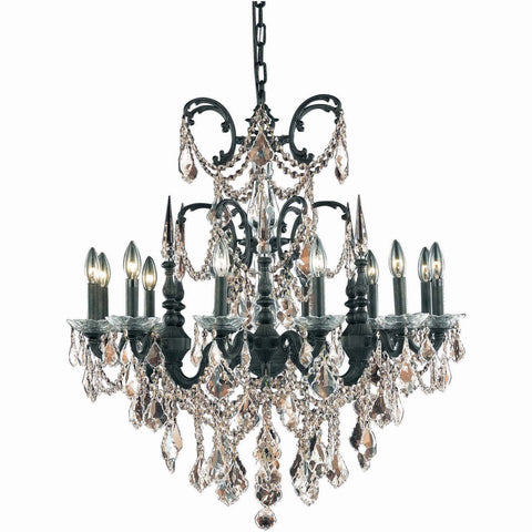 "Athena 32"" Diam Chandelier, Dark Bronze, Golden Teak Crystal, Royal Cut"