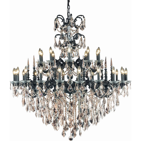 "Athena 53"" Diam Chandelier, Dark Bronze, Golden Teak Crystal, Royal Cut"