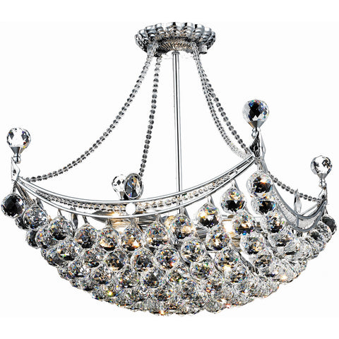 "Corona 20"" L Chandelier, Chrome Finish, Clear Crystal, Elegant Cut"
