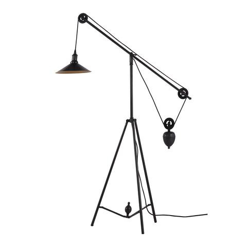 Jasper Floor Lamp Antique Black Gold